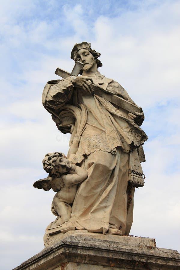 Statue of St. John of Nepomuk in Rome stock photo
