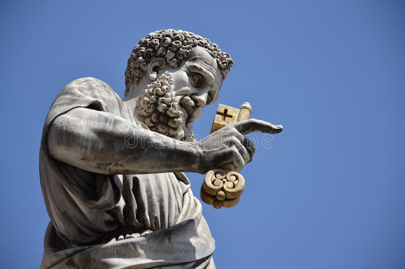 Statue of St. Peter. The statue of St. Peter in St Peter's Square in the Vatican City, Rome, Italy. Statue was sculpted by Giuseppe De Fabris in 1838-40. St stock photography