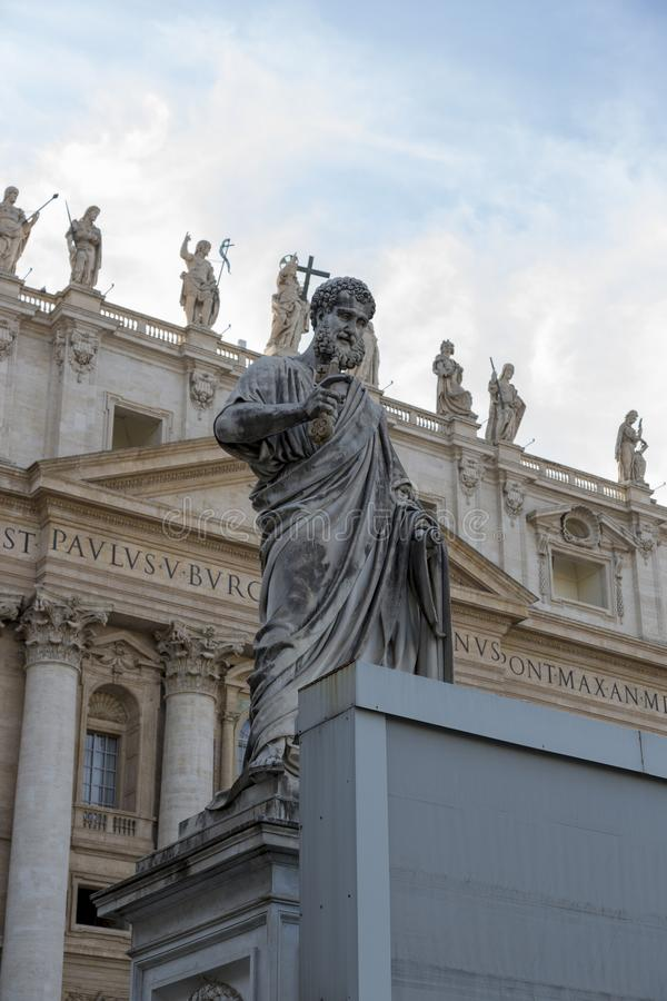 Statue of St. Peter in front of St. Peter`s Basilica in Vatican royalty free stock photo