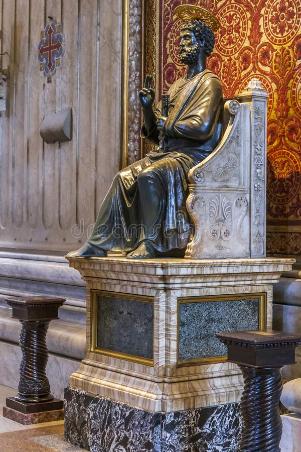 Statue of St. Peter in Vatican stock photography