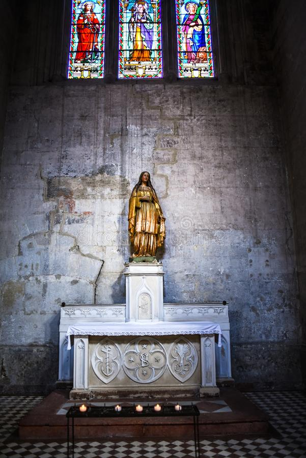 The statue of St. Philomene inside of the Catholic Cathedral in Vienne, France stock photos