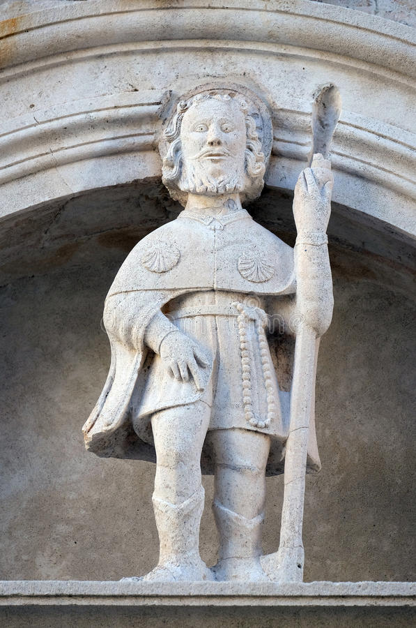 Saint Roch. Statue of St. Roch on the St Mark s Cathedral in the historic city Korcula at the island Korcula in Croatia stock photo