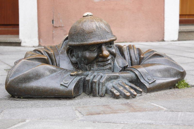 Statue of street worker in Bratislava royalty free stock photo
