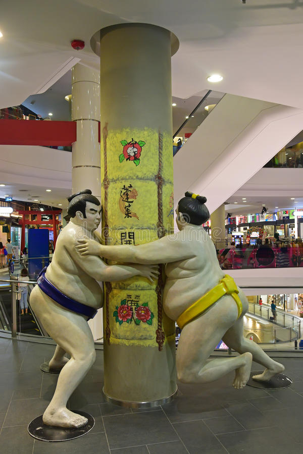 Statue of Sumo wrestler at Terminal 21, a mixed use complex on Sukhumvit Road, Bangkok. Statue of Sumo wrestler at Tokyo Japan level at Terminal 21, a mixed use royalty free stock photos