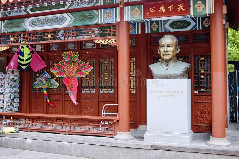 The statue of Sun Yat Sen, founder of the republic of China in Chinatown in Montreal, Quebec, Canada. Montreal, Canada - June 2018: The statue of Sun Yat Sen stock photography