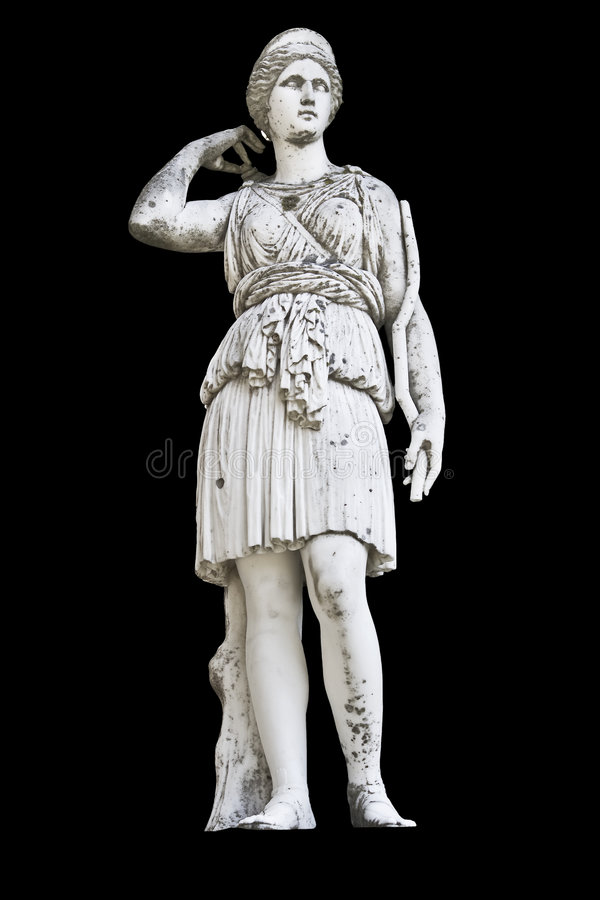 Statue sur le fond noir affichant la déesse Athéna photo libre de droits