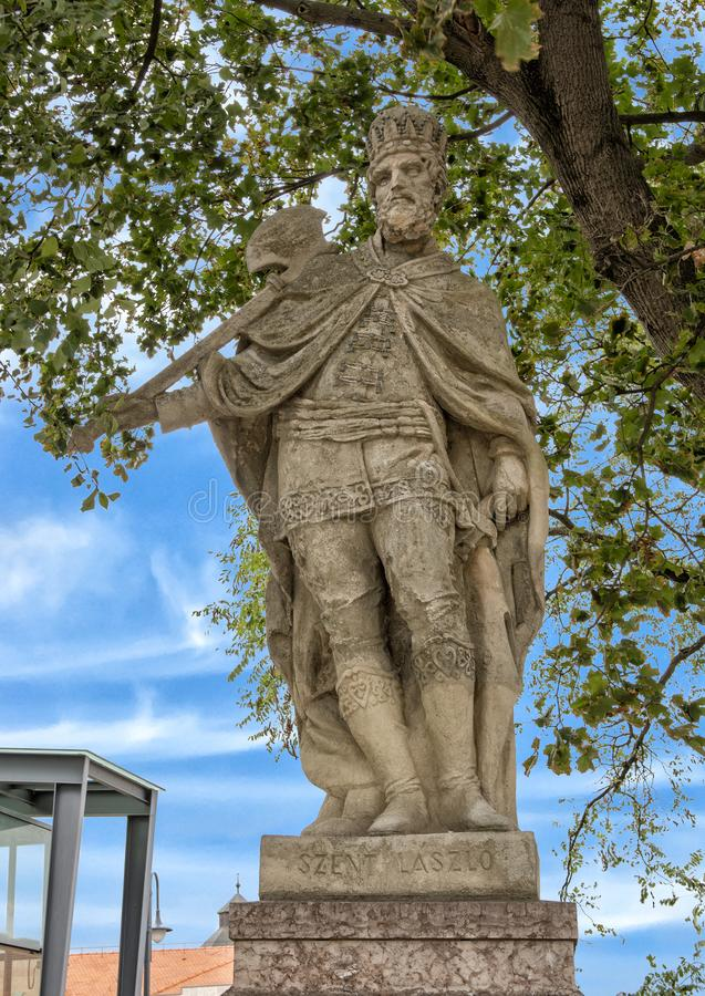Statue of Szent Laszlo at the Esztergom Basilica, Hungary. Pictured is a stone satue of Szent Laszlo at the Esztergom Basilica, Hungary. Szent Lazlo is also royalty free stock image