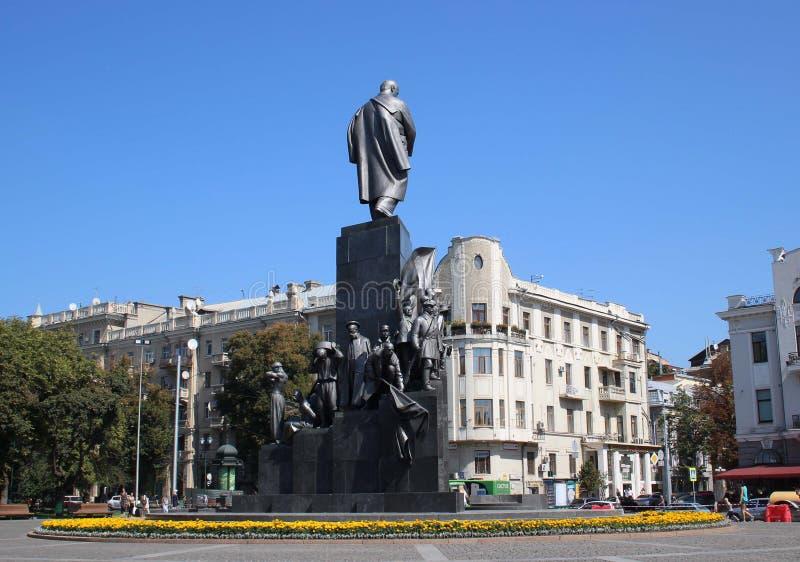 Statue of Taras Shevchenko in Kharkiv, Ukraine stock images