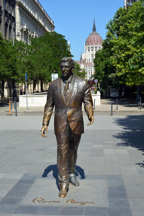 Statue of Ronald Reagan in Budapest - Hungary. Statue of the 40th President of United States of America Ronald Reagan on the Freedom square Szabadsag ter in royalty free stock image
