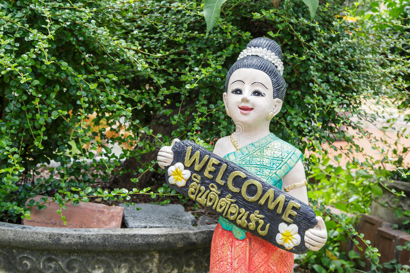 Statue thai children holds the sign You re welcome stock photos