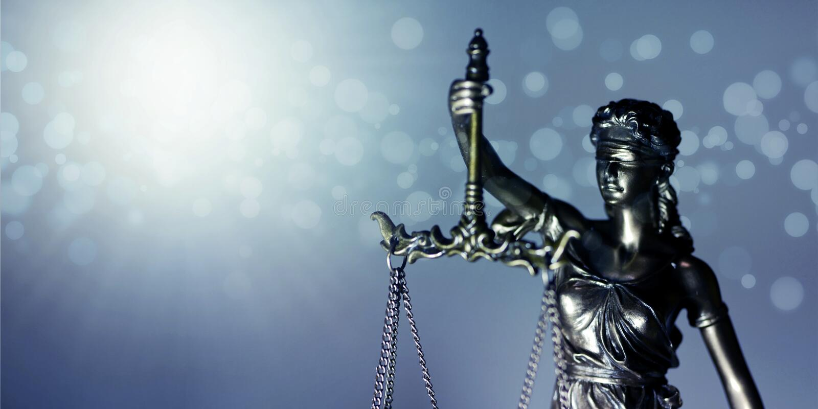 Statue of Themis - goddess of justice. Closeup image with copy space. royalty free stock photo