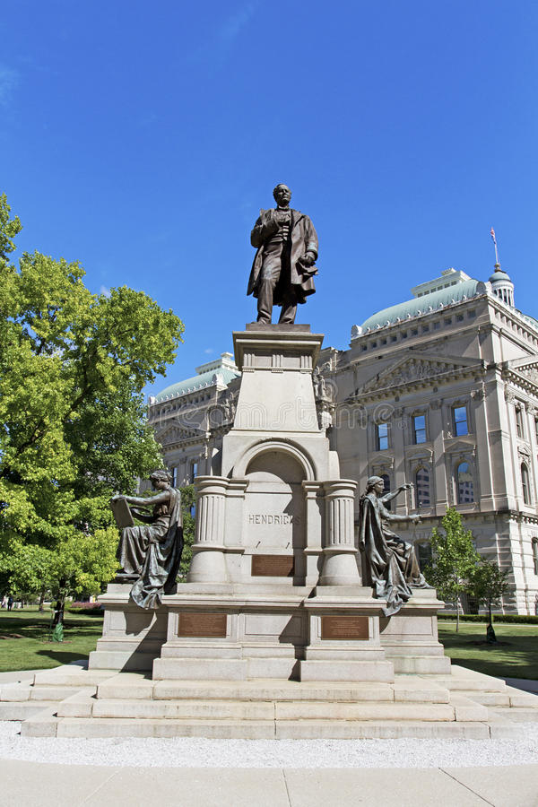 Statue of Thomas Hendricks outside the Indiana capitol building royalty free stock photos