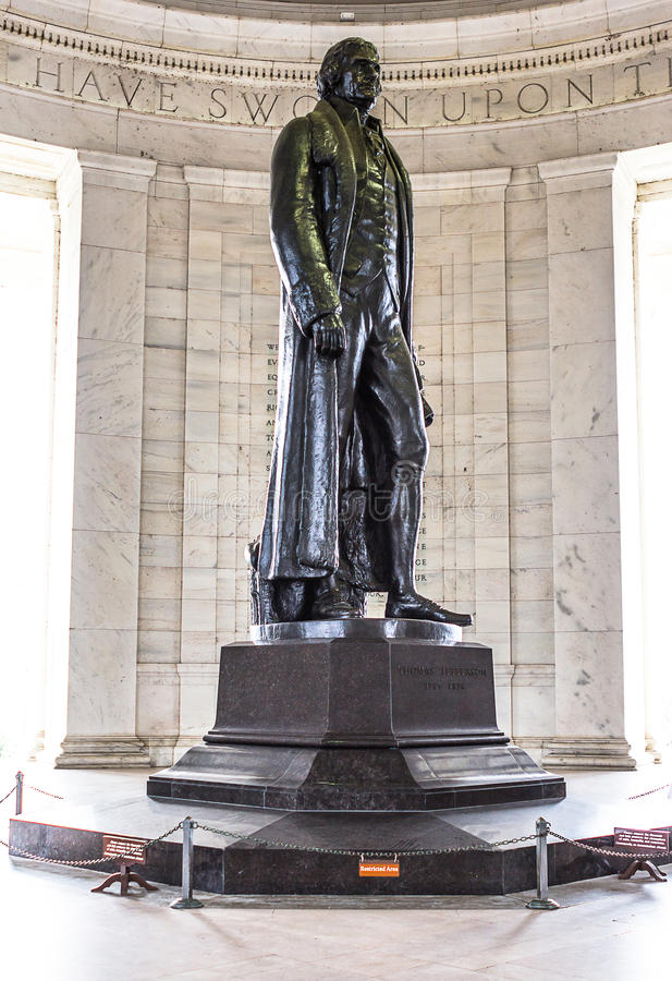 Statue of Thomas Jefferson. Thomas Jefferson was an influential person in american history. This memorial is a reminder to his great works to the state royalty free stock image