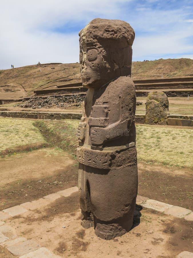 Statue in Tiahuanaco, Bolivia stock photography