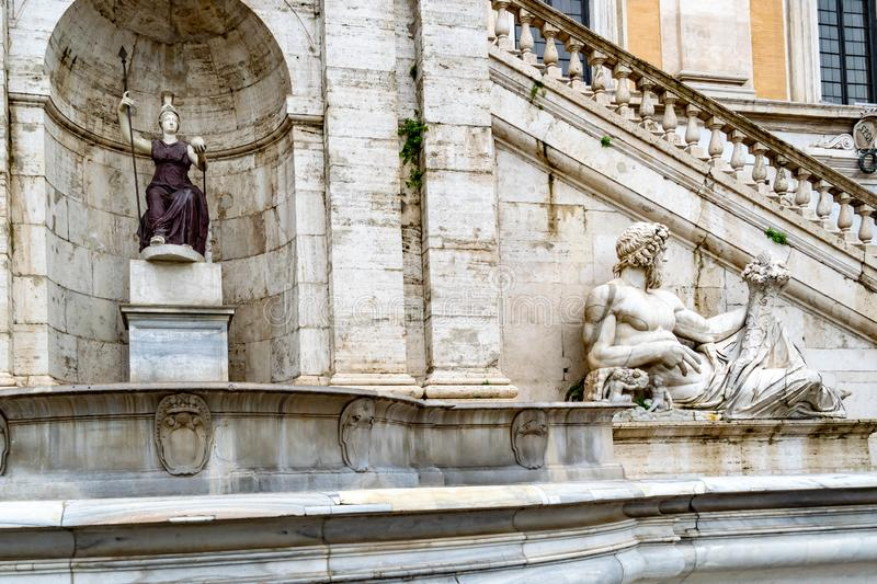 Statue of the Tiber River god on Capitoline Hill, Rome royalty free stock photography
