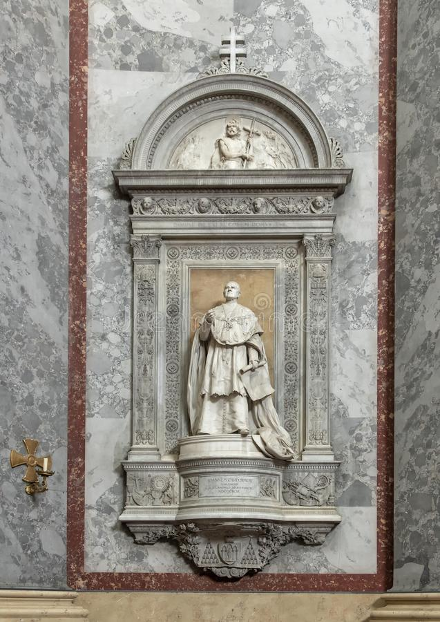 Statue titled `Joannem Card.Simor`, interior Esztergom Basilica, Esztergom, Hungary. Pictured is a statue titled `Joannem Card.Simor` in the interior of The royalty free stock photography