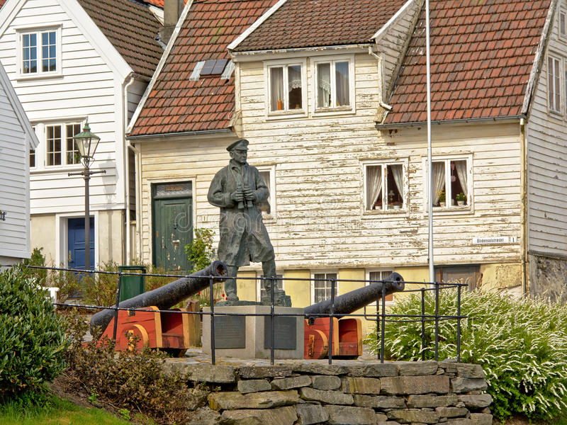 Statue to Admiral Thore Horve and canons in downtown Stavanger royalty free stock image