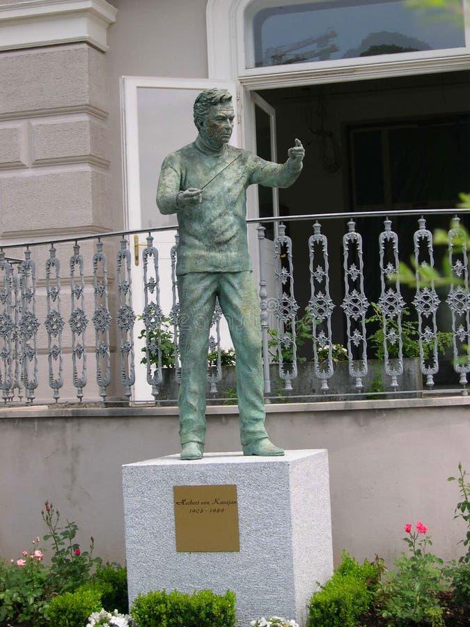 Statue to Herbert Von Karajan in Salzburg Austria. Herbert von Karajan was an Austrian conductor. He was principal conductor of the Berlin Philharmonic for 35 stock photos