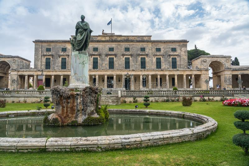 Statue to Sir Frederick Adam outside museum in Corfu royalty free stock image