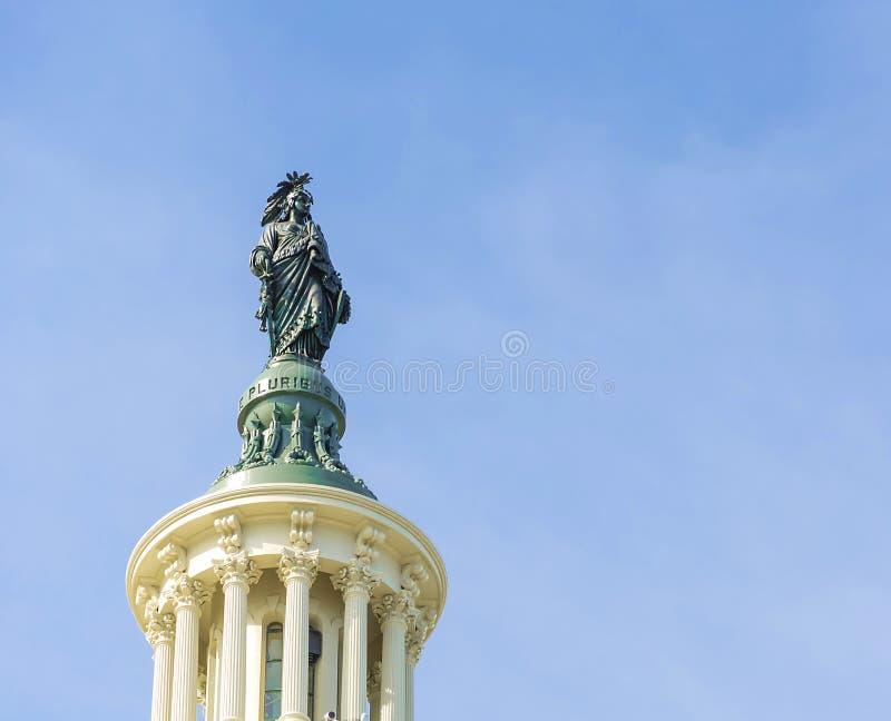 Statue on top of Capitol Building Washington DC stock photos