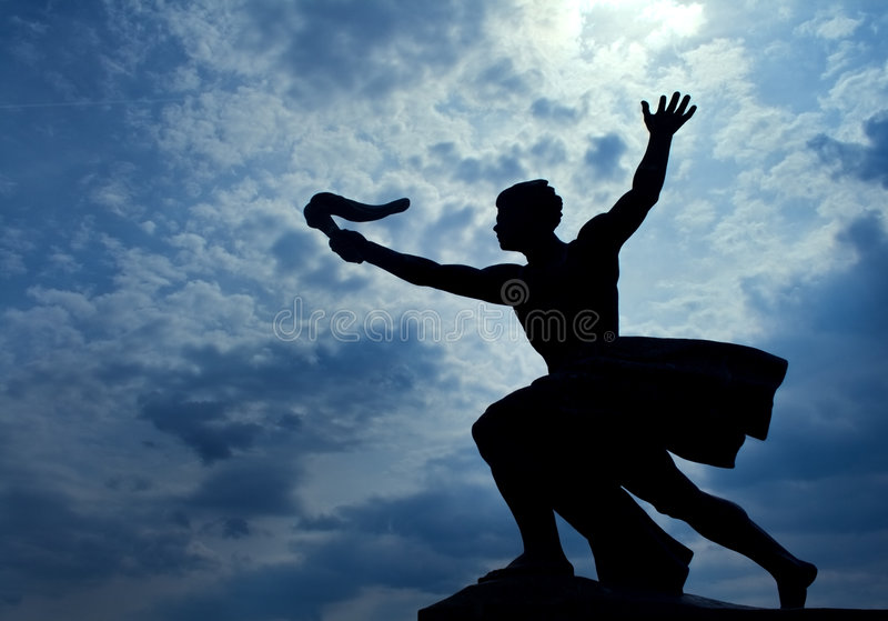 Statue of torch-bearer on Gellert Hill, Budapest royalty free stock photo