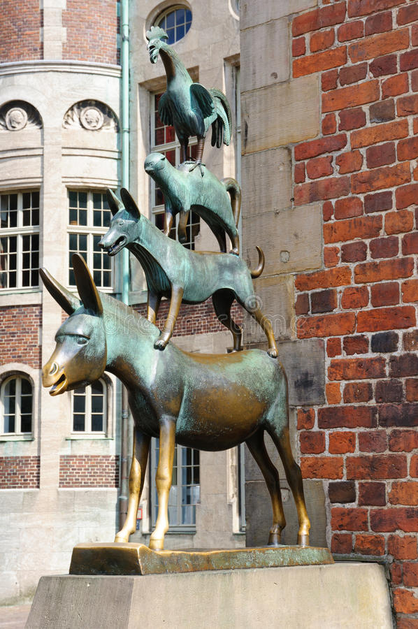 The Statue of Town Musicians of Bremen stock photos