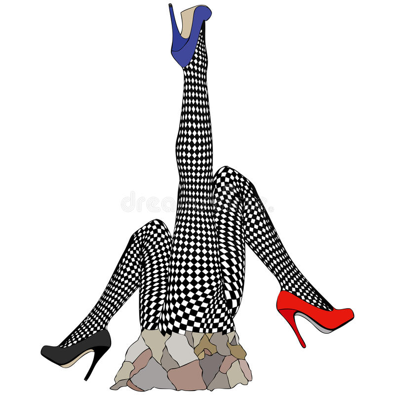 Statue in tribute to fishnet stockings. Humorous illustration depicting a statue dedicated to the fishnet stockings stock illustration