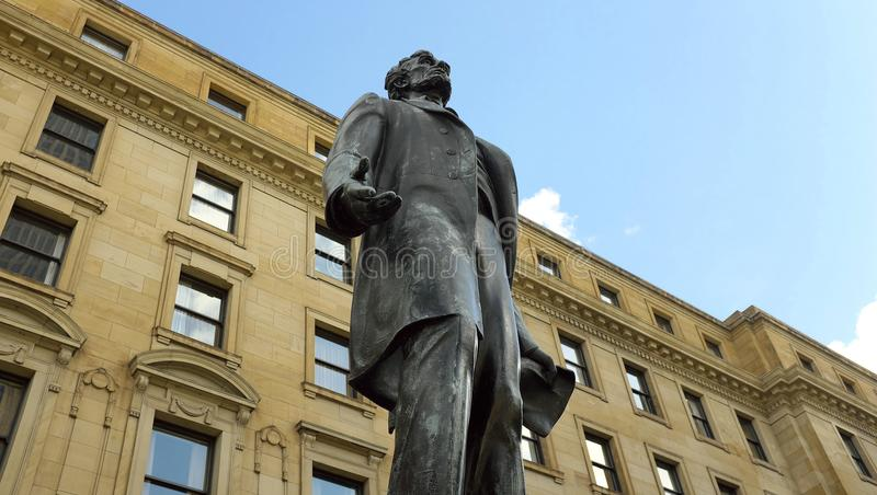 Statue U.S. President Lincoln in Cleveland, Ohio, the United States. The statue of President Lincoln is framed by the summer blue skies of Cleveland, Ohio in the royalty free stock image