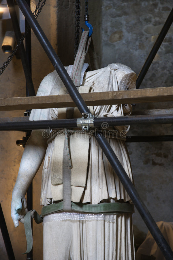 Statue under restoration, Rome, Italy. stock photography