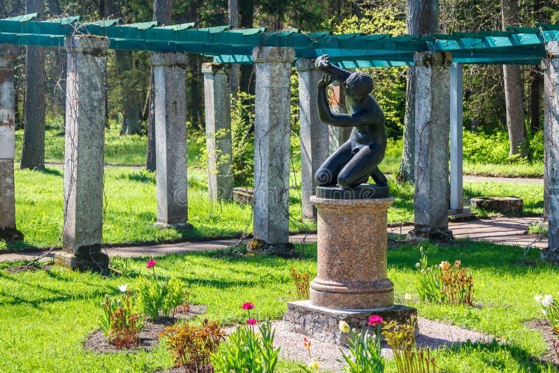 Statue in the upper park of Lomonosov. LOMONOSOV / RUSSIA - MAY 2014: Statue in the upper park of Lomonosov (Oranienbaum), Russia royalty free stock photography