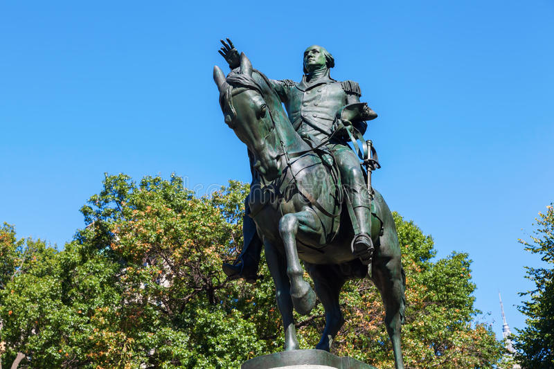Statue of US President George Washington at Union Square, Manhattan, NYC. Historical equestrian statue of US President George Washington at Union Square stock photography