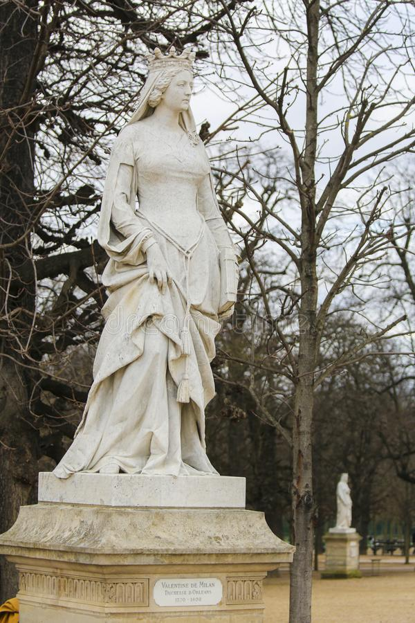 Statue of Valentina Visconti, Duchess of Orleans, in the Jardin du Luxembourg, Paris, France. Statue of Valentina Visconti, Duchess of Orleans in the Jardin du stock photography