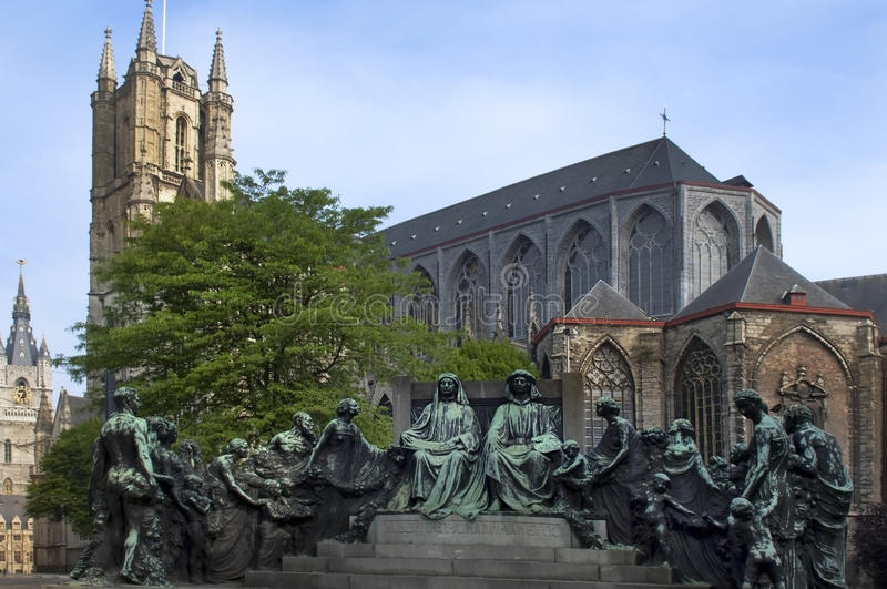Statue of the van eyck brothers royalty free stock images