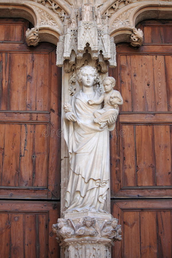 Statue of Virgin Mary with Jesus child stock photo