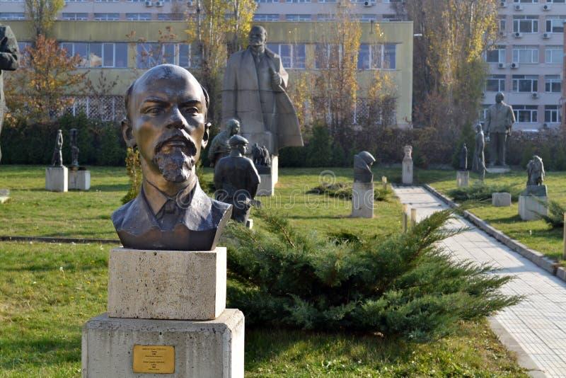 Sofia / Bulgaria - November 2017: Statue of Lenin in the museum of socialist art stock images