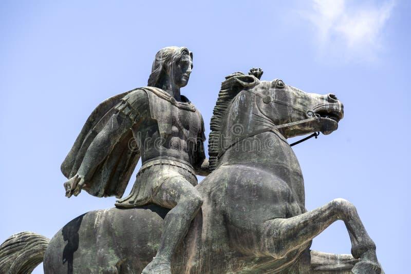 Statue von Alexander der Große von Macedon auf der Küste von Saloniki stockfotografie