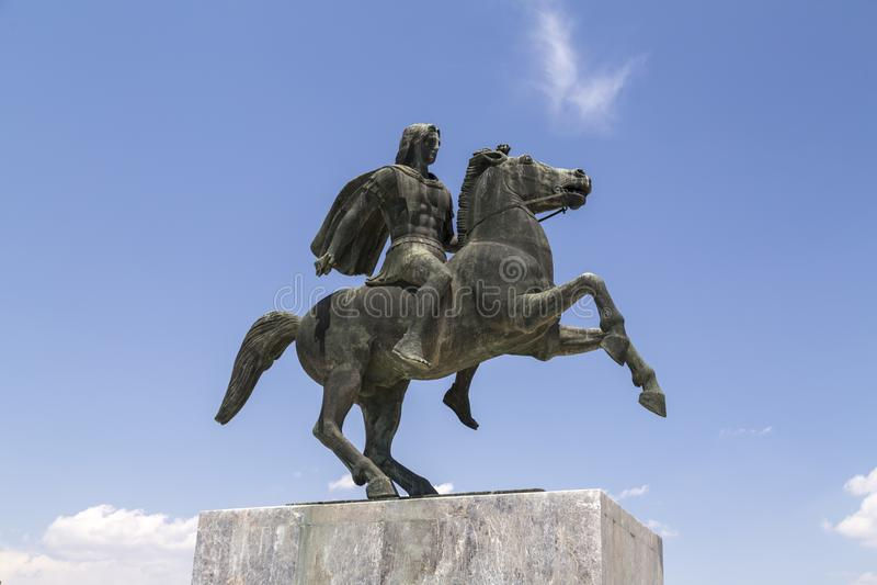 Statue von Alexander der Große von Macedon auf der Küste von Saloniki lizenzfreie stockfotos