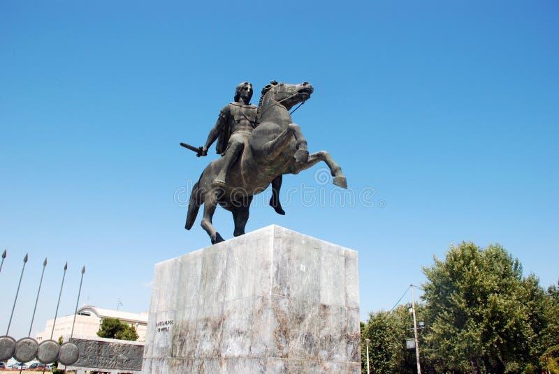 Statue von Alexander der Große in Saloniki lizenzfreie stockbilder