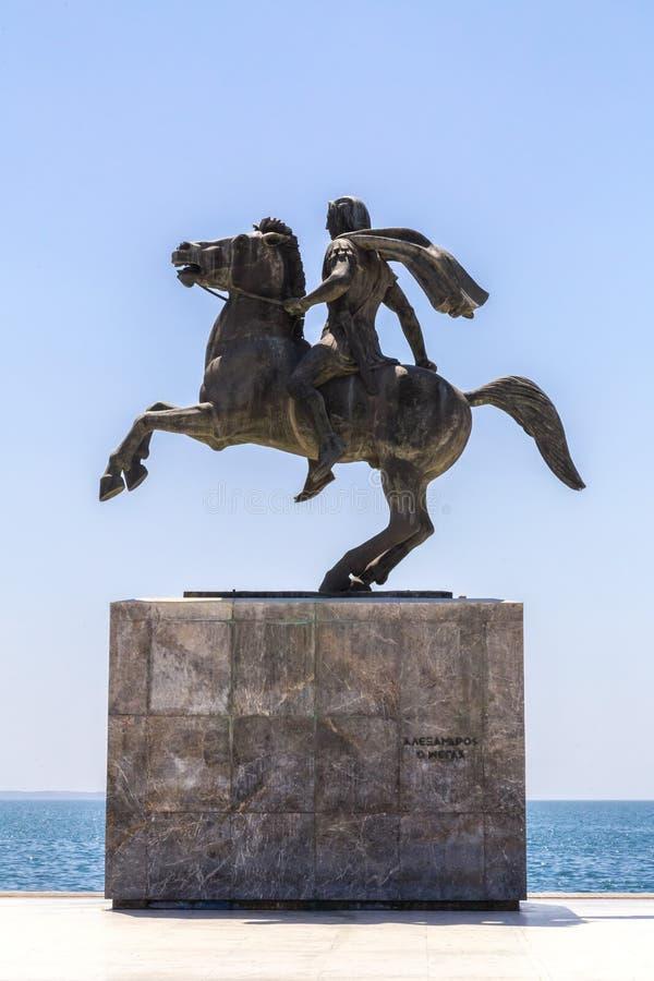 Statue von Alexander der Große von Macedon auf der Küste von Saloniki, GR lizenzfreie stockfotos