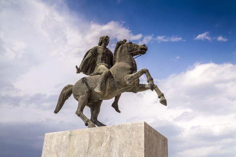 Statue von Alexander der Große von Macedon auf der Küste von Saloniki lizenzfreies stockbild