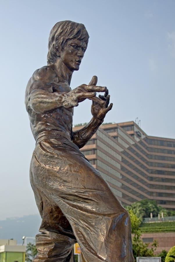 Statue von Bruce Lee in einer Kampfkunsthaltung lizenzfreie stockfotografie