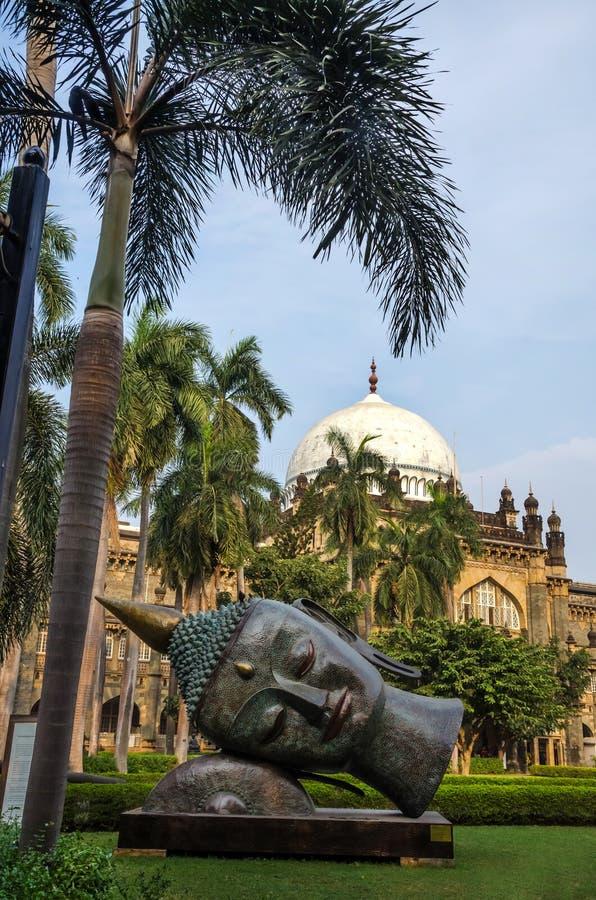 Statue von Buddhas-Kopf im Prinzen von Wales-Museum, Mumbai, Indien lizenzfreies stockfoto
