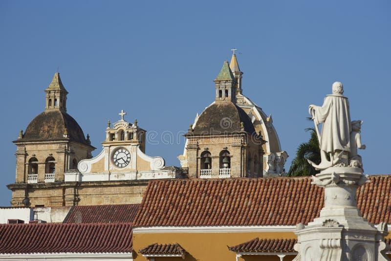 Statue von Christopher Columbus in Cartagena de Indias lizenzfreie stockfotos