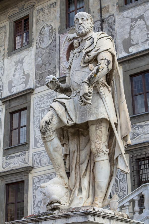 Statue von Cosimo I de Medici, Pisa, Italien stockbild