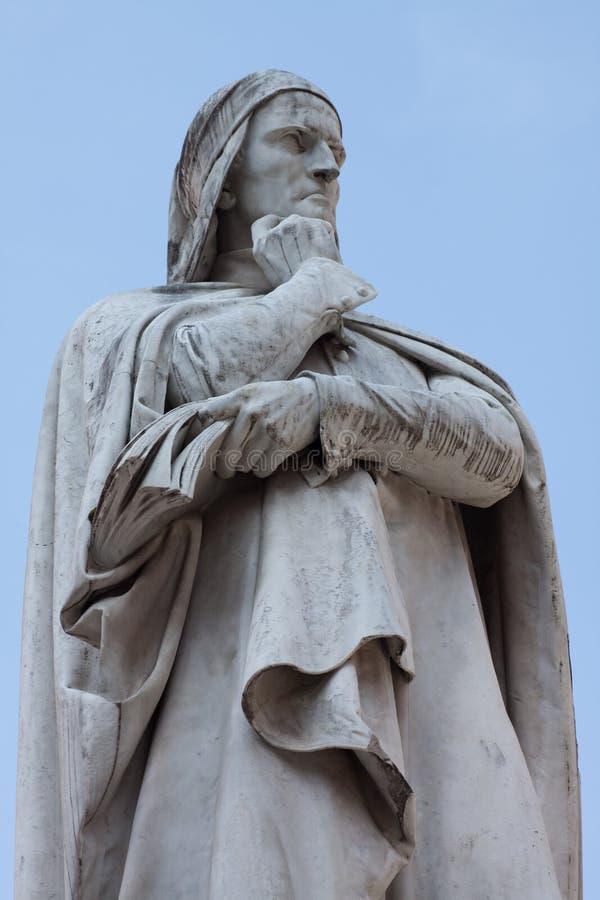 Statue von Dante lizenzfreies stockfoto