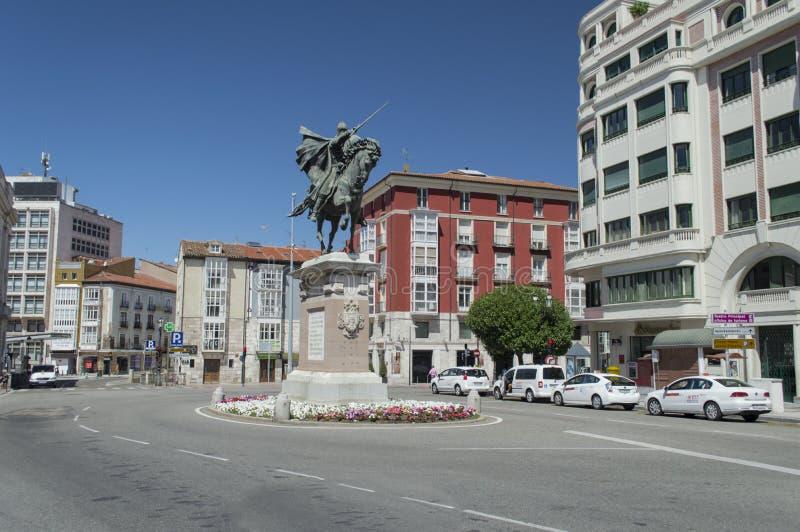 Statue von El Cid in Burgos, Spanien lizenzfreies stockbild