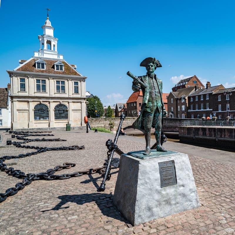 Statue von George Vancouver in Lynn Königs, Norfolk, England stockbild