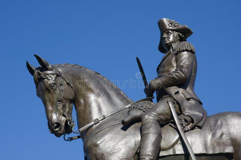 Statue von George Washington auf zu Pferde stockbild
