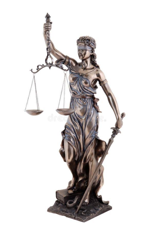 Statue von Gerechtigkeit, mythologische griechische Göttin Themis, lokalisiert stockbilder