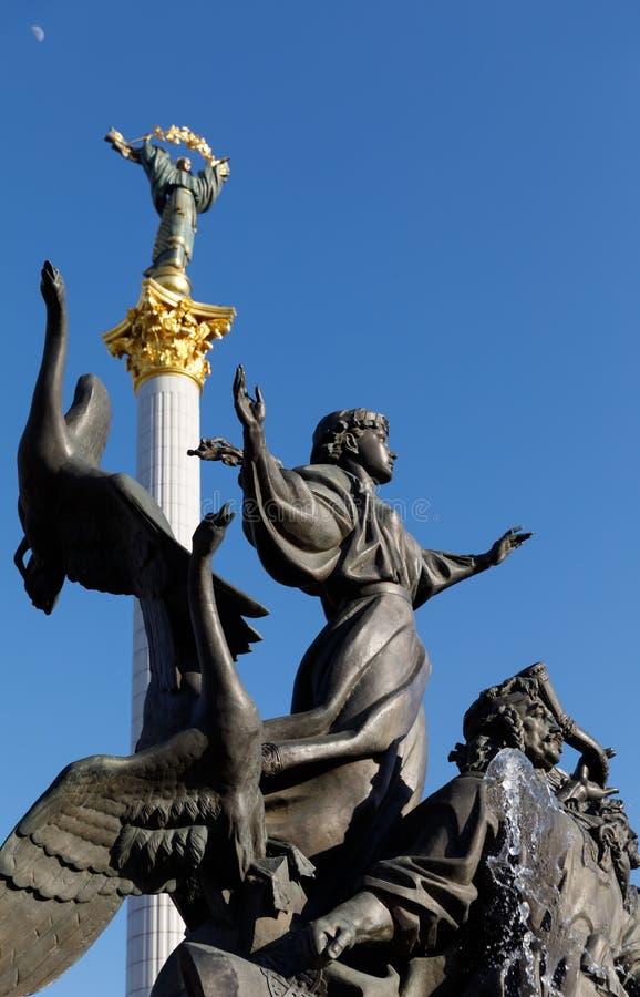Statue von Gründern von Kiew am Unabhängigkeits-Quadrat lizenzfreies stockbild